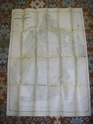 1925 Large Antique Brooklyn New York City NYC NY King's County Fold-out Map