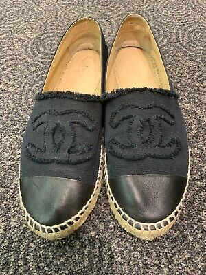 3d58fafdfc9 CHANEL BLACK CANVAS Lambskin Leather CC Logo Espadrilles Flats Shoes EU 40  US 9