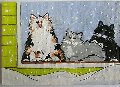 ACEO Original Acrylic Painting Cats Ferals Forever Home C Pryjmak cathy2276 USA