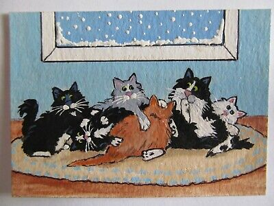 ACEO Original Acrylic Painting Cat Kitty Rumble Felines C Pryjmak cathy2276 USA