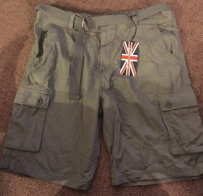 a9c290b294 NWT 1688 Revolution Men's Cargo Shorts with Belt Casual 100% Cotton Gray  Sz42