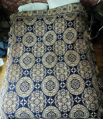 Antique Jacquard coverlet 1840-50 blue cream summer winter PA NY doves chickens