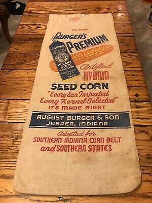 DOUBLE SIDED 1950's VINTAGE BURGER & SON INDIANA CANVAS FEED CORN SEED SACK