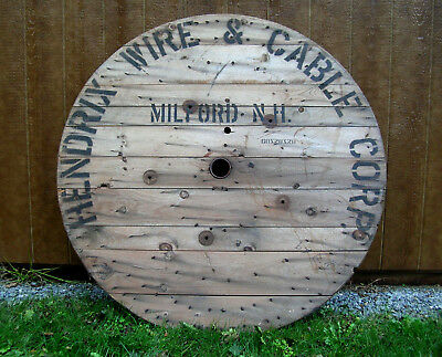 """Vintage  Hendrix  Wire  &  Cable  Corp  60""""  Spool  Cap - Tabletop / Wall  Art"""