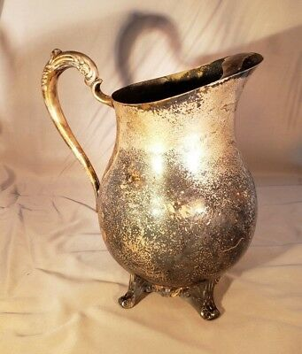 "RARE 1917 Vintage ""Wm Rogers"" SilverPlate Water Pitcher Victorian Rose"