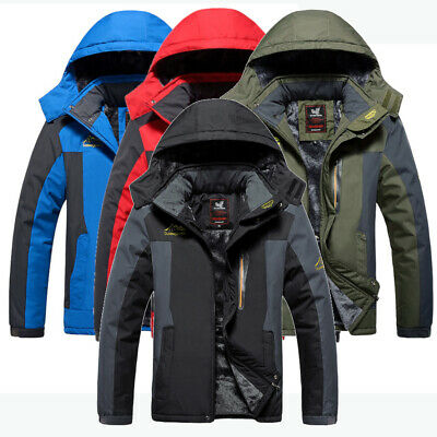 Mens New Outdoor Waterproof Fleece Lined Jacket Detachable Hood Very Warm Winter