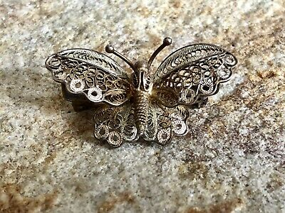 Beautiful Antique 800 Silver Italian Filigree Butterfly Pin Brooch