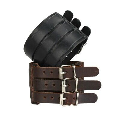 Punk Wide Mens Leather Bracelet Adjustble Wristband Cuff Bangle Black Brown