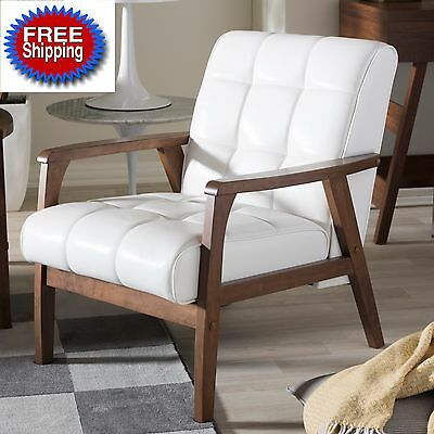 White Accent Chair Tufted Faux Leather Mid Century Vintage Wood For Women Men