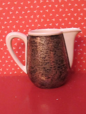 """Vintage """"Wmf"""" Silver Clad Layered Over  Pottery Milk Pitcher>4""""Tall>Cream/Silver"""