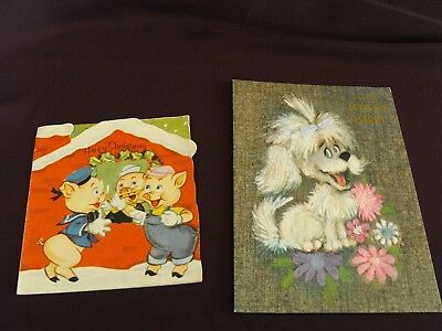 1950s Three Little Pigs Christmas Card, 1970s get well card - unused.