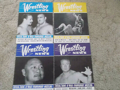 4 x WRESTLING  NEWS MAGAZINES 1960S LOT 2