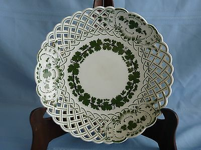 MEISSEN Clean Crossed Swords ANTIQUE Porcelain FULL GREEN VINE Reticulated BOWL