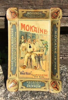 Early 1900's Original MOKAINE Liqueurs Liquor Bar Tin Litho Tip Tray French