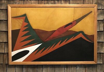 Original FRANK DIAZ ESCALET 1976 Oil On Leather Artwork Painting Thunderbird