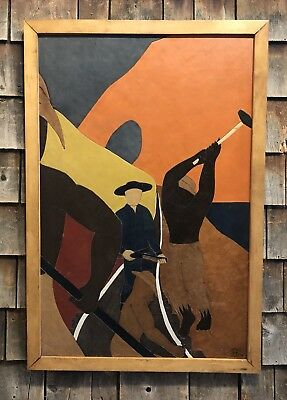 Original FRANK DIAZ ESCALET 1975 Oil On Leather Artwork Painting Listed Artist