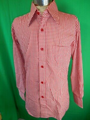 Vintage 1970s Red & White Checked Poly/Cotton Myer Dress Shirt New/Old Stock M