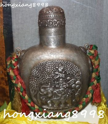 Old Tibetan Pure Silver Phoenix Rabbit Monkey Elephant Snuff Bottle Pot Jar Vase