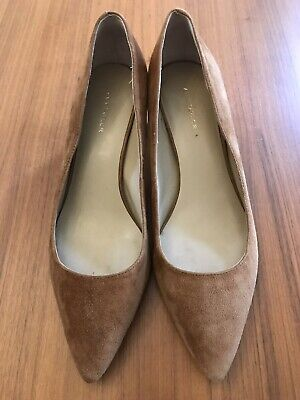 0862d651a1e ANN TAYLOR BETTE Brown Suede Pointed Toe Pumps Heels Gold Block Heel ...