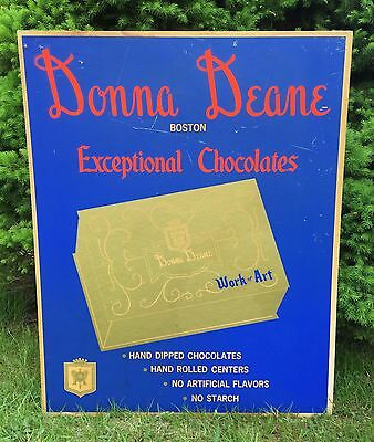 Vintage 1950's Boston MA Exceptional Chocolate DONNA DEANE Advertising Sign
