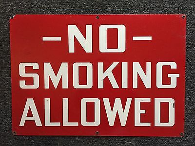 Vintage Industrial Construction NO SMOKING ALLOWED Metal Safety Sign