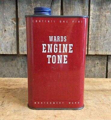 Vintage MONTGOMERY WARD ENGINE TONE Auto Motor Tin Can 1 Pint Gas Station