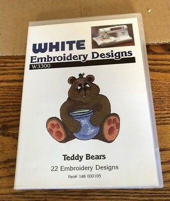White Embroidery Machine Card TEDDY BEARS--22 Designs Brother compatible