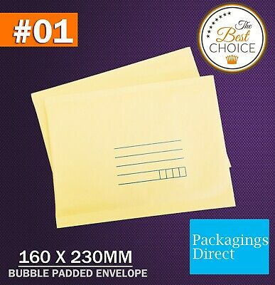 200x Bubble Envelope #01 - Yellow Colour - 160x230mm Padded Bag Mailer SIZE 01