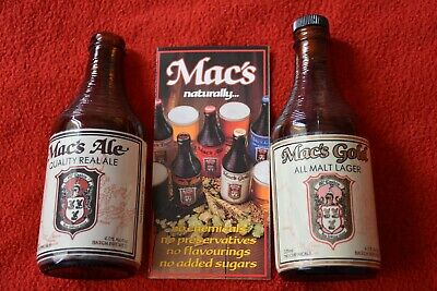 1994 Mac's Gold Lager & Real Ale Beer Bottles McCashin's Brewery NZ & Brochure