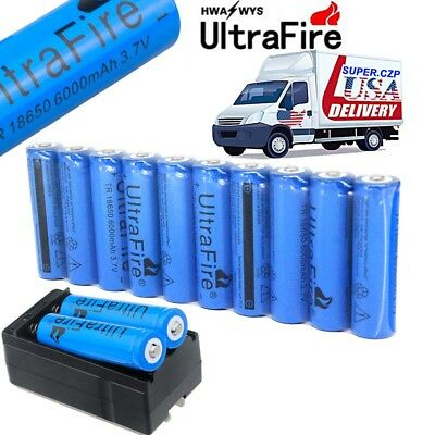 10X 18650 Battery 6000mAh 3.7V Lithium Rechargeable Charger For Flashlight Torch