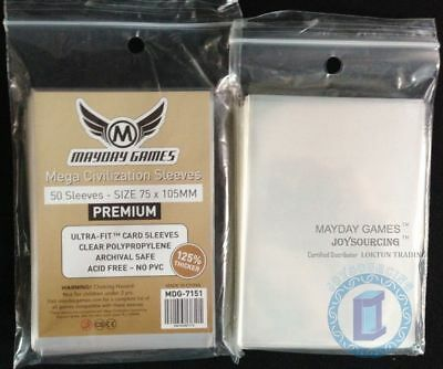 125% thicker MDG-7151 Mega Civilization Large card sleeves for 75x105 Board Game