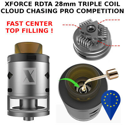 XFORCE RDTA 28mm 4ml TRIPLE COIL ULTEM 810 DRIP TIP PRO CLOUD CHASING COMPETITIO