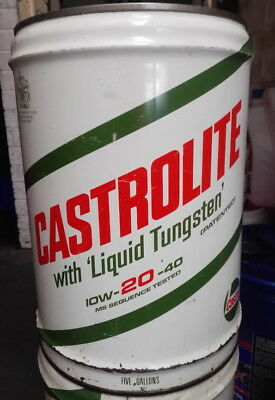 """Castrolite"" / Castrol  Vintage Oil Drum / Tin Four Gallon"