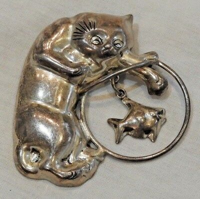 Vintage CII Mexican Sterling Silver Cat & Fish in Fishbowl Pin Brooch