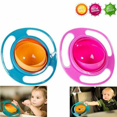 Baby No Spill Feeding Toddler Kids Gyro 360 Rotating Bowl Portable Cup Infants
