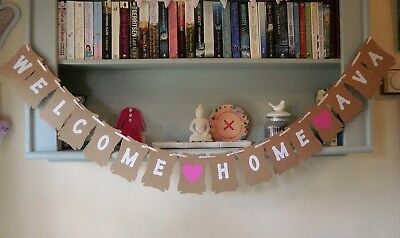 Personalised Welcome Home Bunting Banner Decoration, Any Name