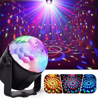 7W RGBYW Voice Activated Remote Control LED Crystal Magic Ball Stage Light for B