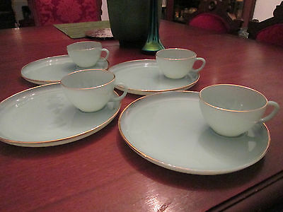 SET 4 SNACK PLATES w/CUPS! Vintage FIRE KING: TURQUOISE BLUE: exc