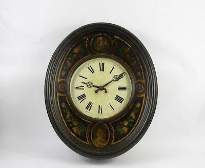 Unique French Vintage Metal Wall Clock Decorated with Roses, Children, Ladies