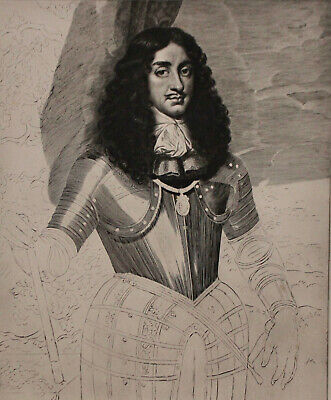 A Fine c19th Engraving, British Museum 1898, Charles II, Van Dalen after Nason