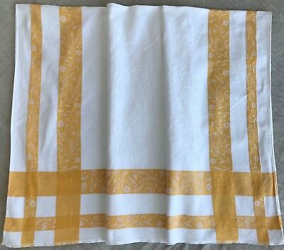 VINTAGE COTTON DAMASK TABLECLOTH, white with yellow border,122cm / 4 ft square