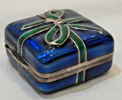 Vintage Blue & Green Enameled Sterling Silver Wrapped Present Gift Box