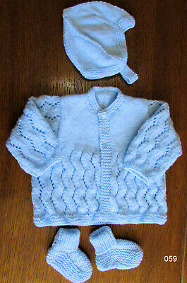 baby blue matinee set new 0 to 3 months hand knitted coat hat booties reborn
