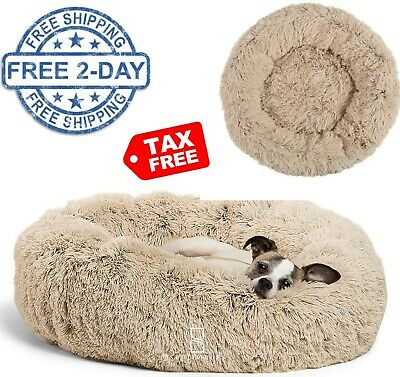 Pet Shaggy Bed Soft Faux Fur Comfortable Dogs Cats Sleeping Beds Large Taupe
