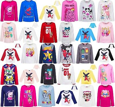 Boys/Girls Long-Sleeved Kids Character T-Shirts - Sizes 2-10 Years NWT FREE Post