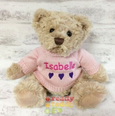 Personalised 8 Inch Teddy Bear Knitted Jumper Embroidered New Baby Christening