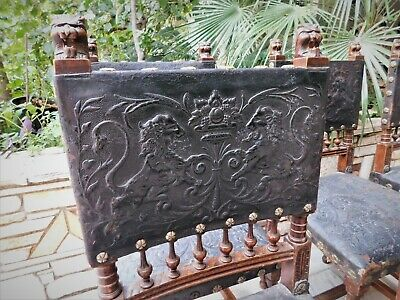 19th C ANTIQUE GOTHIC EMBOSSED LEATHER CHAIR SET OF 6 WALNUT CHAIR LION FIGURE
