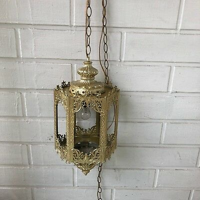 Mid Century Gothic / Spanish Style gold Hanging Swag Lamp  in great shape