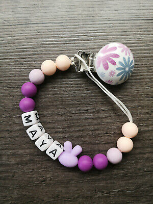 PERSONALISED Purple Dummy Clip Chain Flower Clip baby Girl GIFT UK