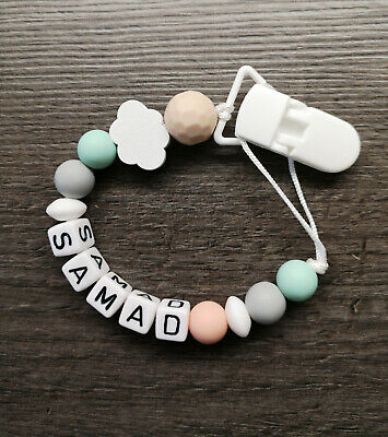 PERSONALISED Dummy Clip Baby Boy Girl Gift Silicone Cloud UK